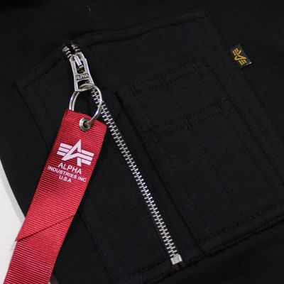 ALPHA INDUSTRIES Sweatshirt RED STRIPE HOODY black – Bild 5