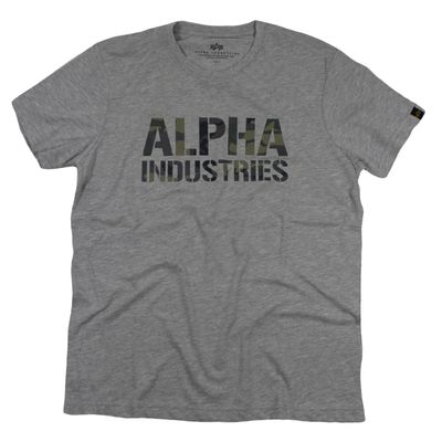 Alpha Industries T-Shirt CAMO PRINT T grey woodland – Bild 1