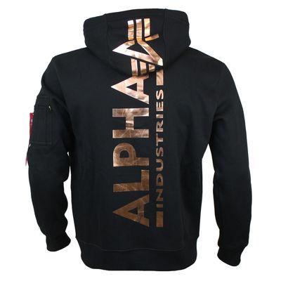 Alpha Industries Sweatshirt BACK PRINT HOODY black gold – Bild 1