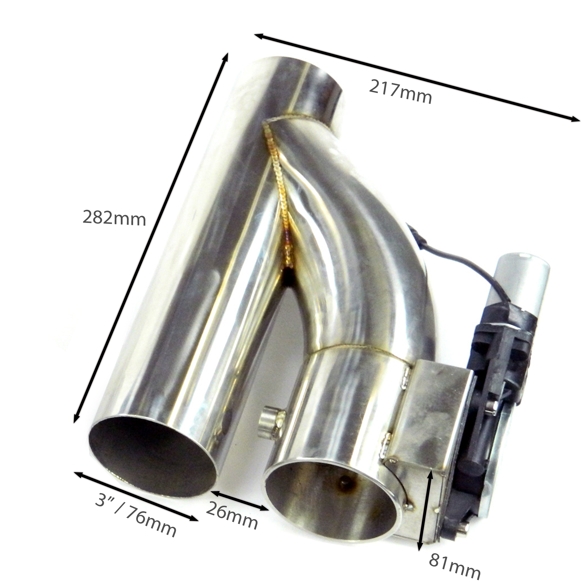 Duales Klappenauspuff-System Y-Rohr, elektrisch inkl. Fernbedienung - 76mm Außendurchmesser