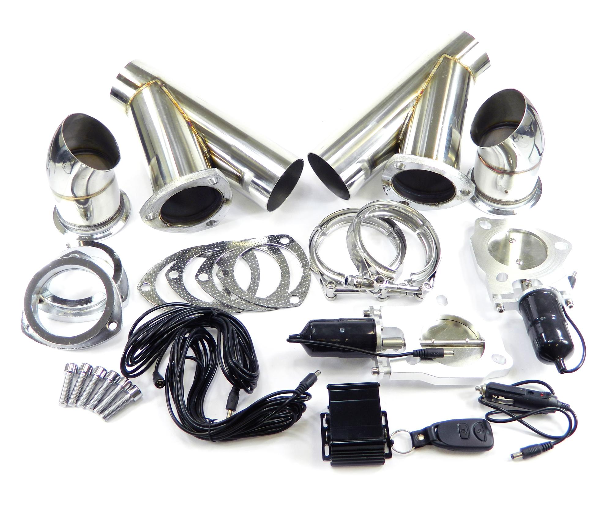 Duales Klappenauspuff-System mit Zusatzrohr, elektrisch inkl. Fernbedienung - 63mm Außendurchmesser