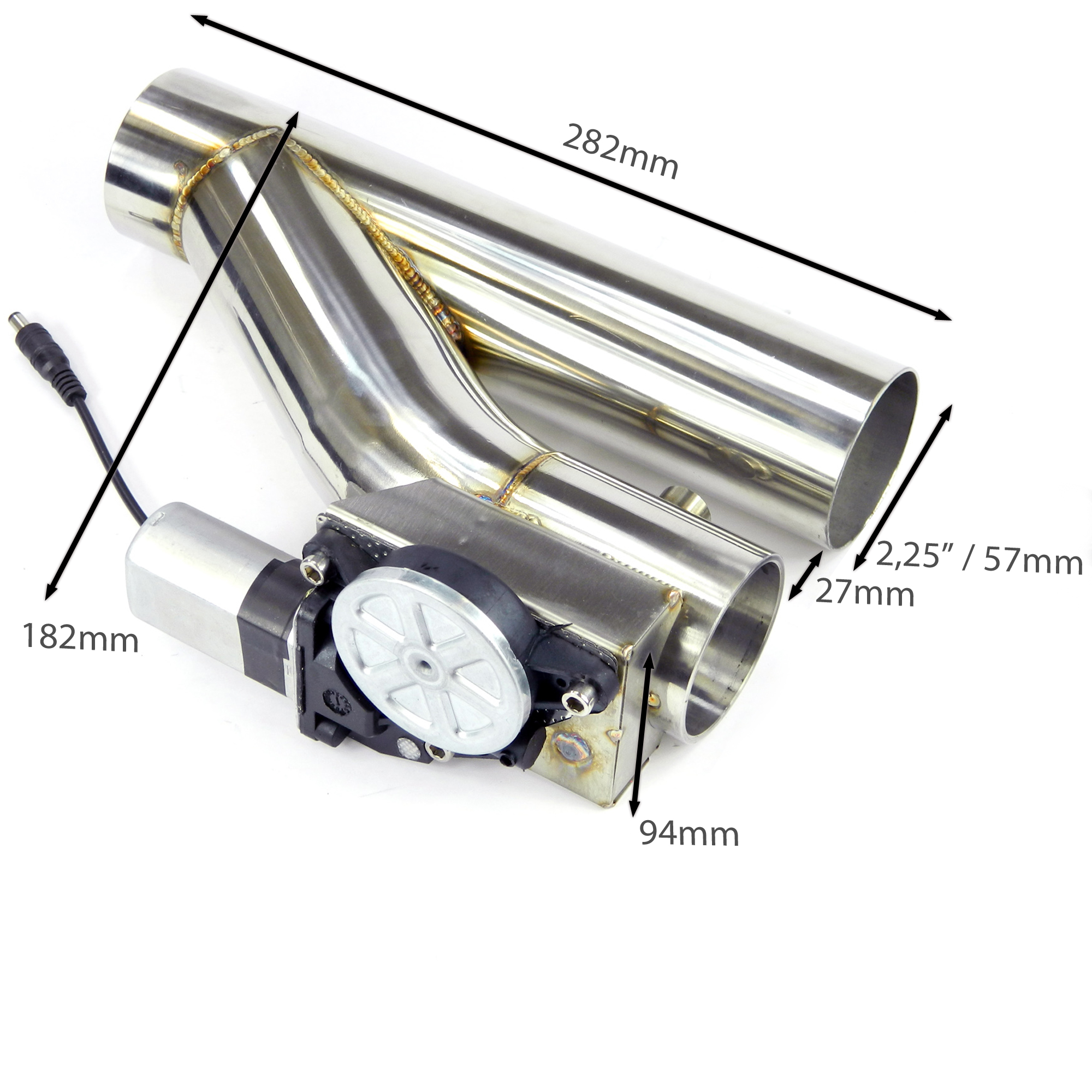 Klappenauspuff-System Y-Rohr, elektrisch inkl. Schalter - 55mm Außendurchmesser