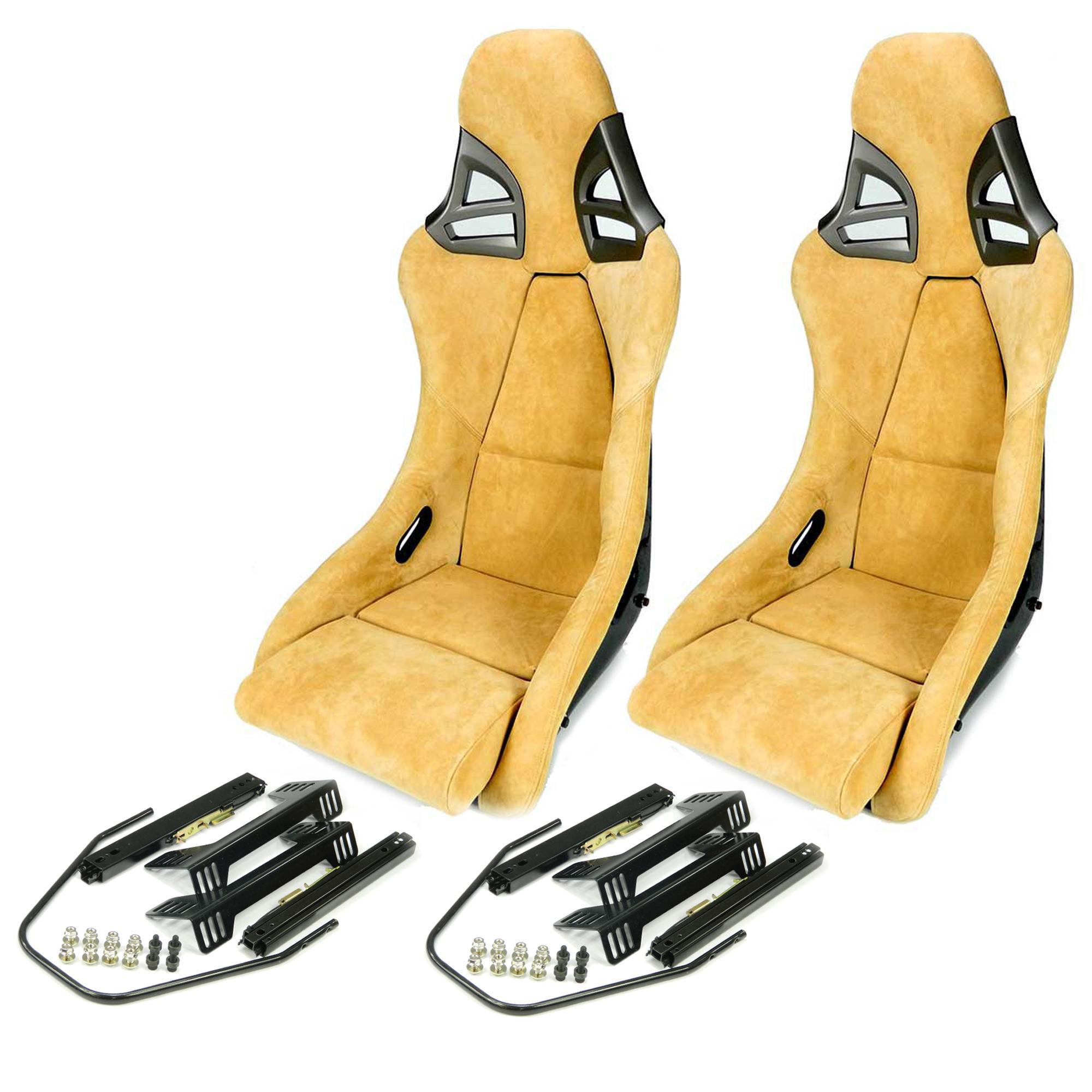 2x Carbon Sportsitz 997-GT3-Optik Alcantara beige + Konsole & Laufschiene