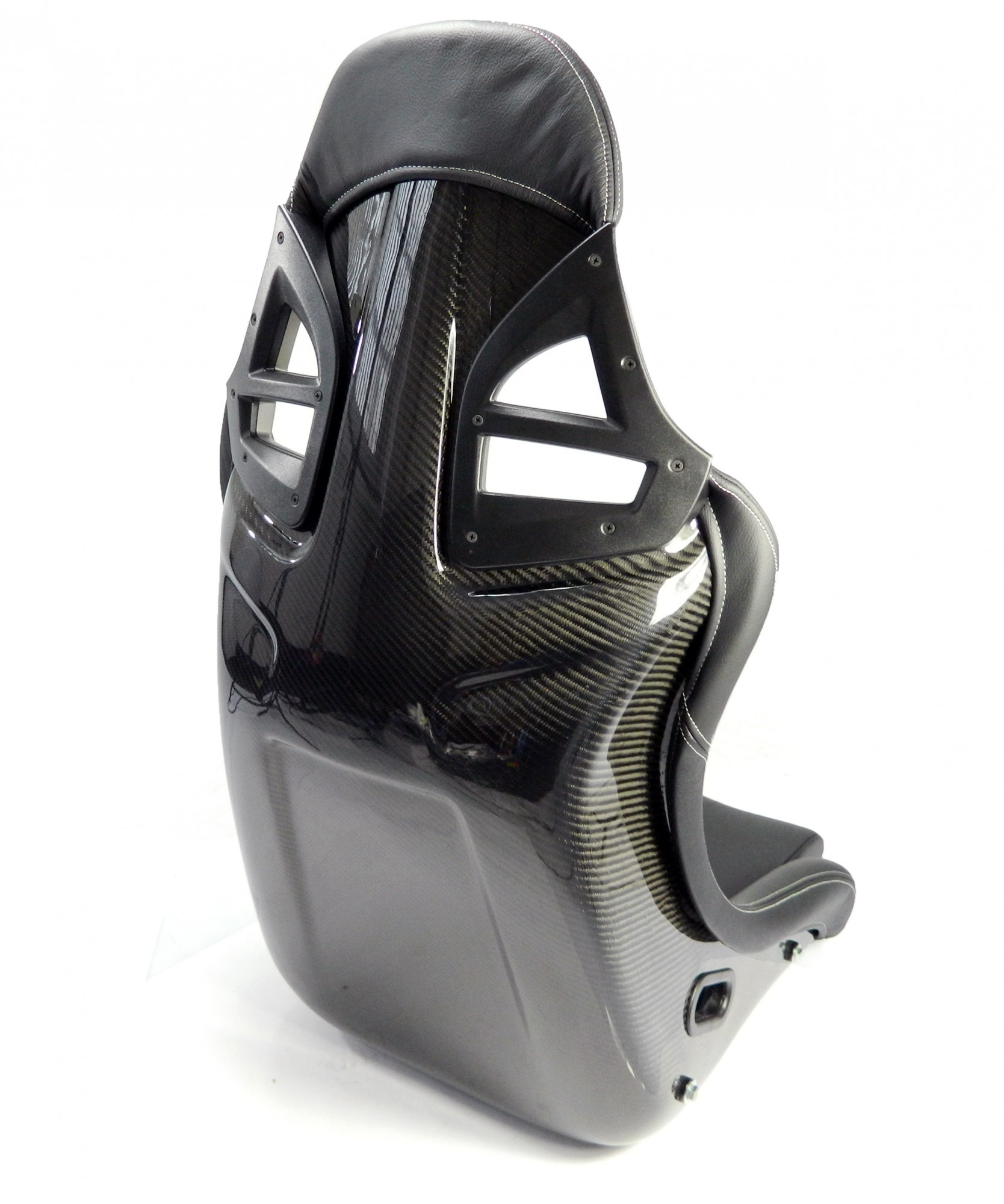 2x Carbon Sportsitz 997-GT3-Optik Leder schwarz + Konsole & Laufschiene