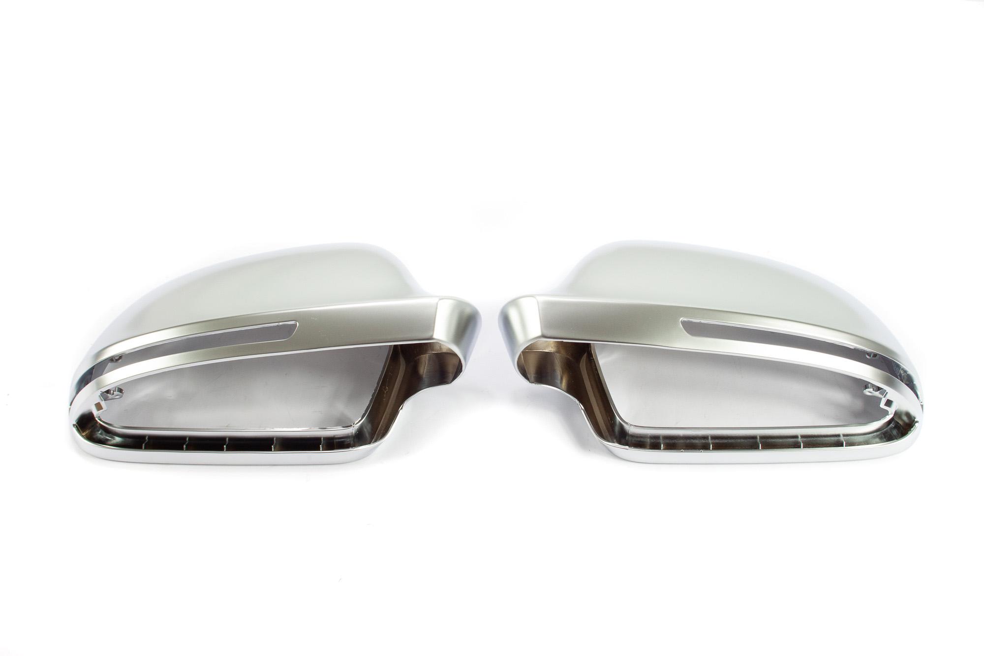 Aluminium Style Spiegelkappen Audi A3 04/2008 - 05/2010, A4 nur Vfl bis 11/2011, A5 nur Vfl bis 07/2011, A6 ab 10/2008, mit Spurwechselassistent