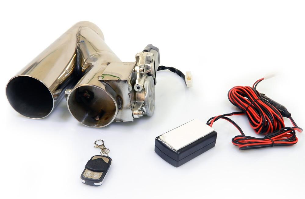 Klappenauspuffsystem aus Edelstahl zum nachträglichen Einbau elektrisch inkl. Fernbedienung. 76mm Innendurchmesser
