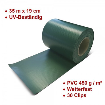 PVC Zaun Sichtschutz Sichtschutzfolie grün – Bild 1