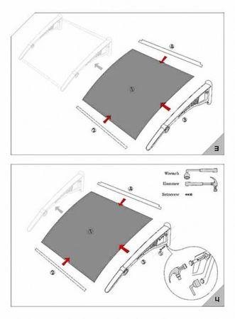 Vordach Überdachung Haustürdach Türdach 1,4 x 1,2 m – Bild 6