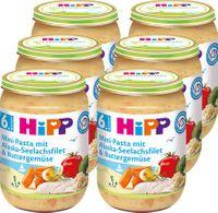 HIPP Mini-Pasta mit Alaska-Seelachsfilet und Buttergemüse (6. Monat), 6x190 g