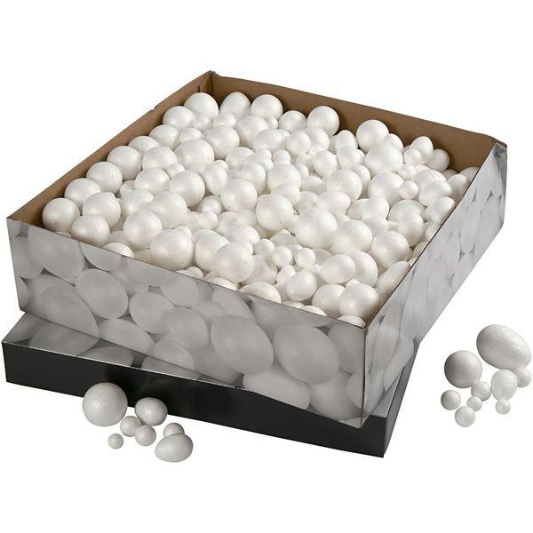 styropor kugeln und eier 550 stuck sortiert weiss