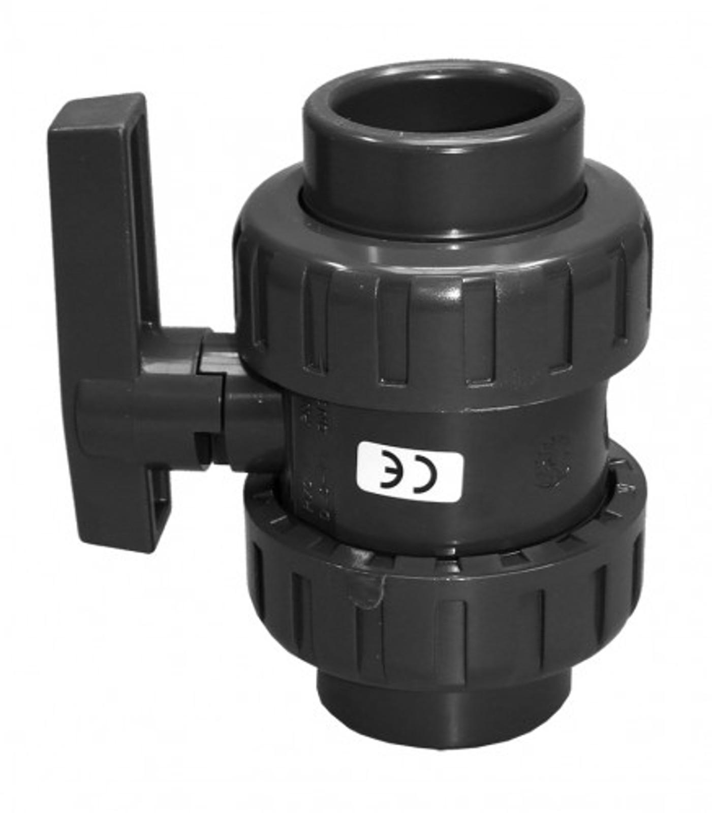 PVC-Kugelhahn m. 2 Anschlußenden, Ø 50 mm