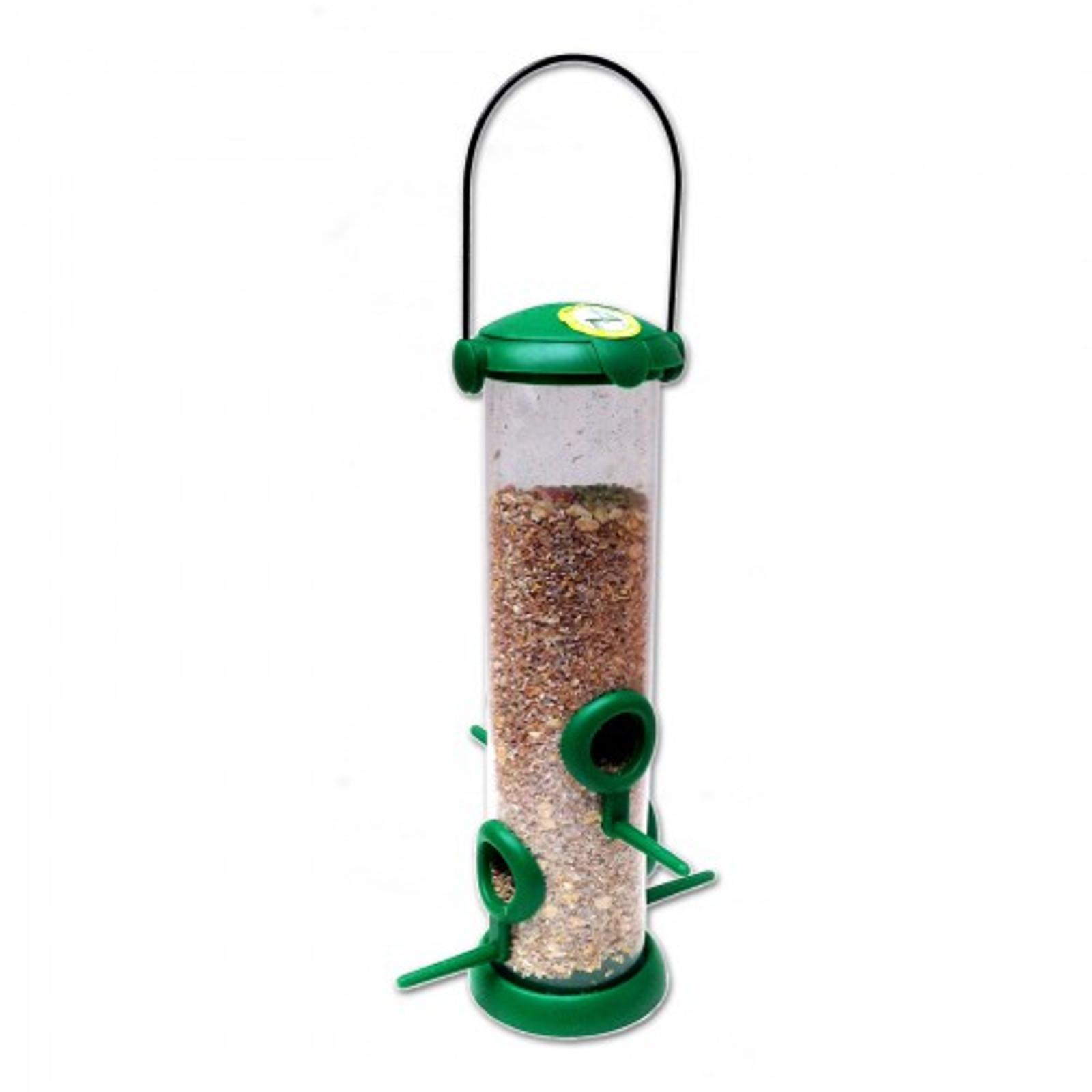 Großer Futterspender für Samen, Futtermischungen, Sonnenblumenkerne, Erdnussbruch mit Klappdeckel – Bild 2