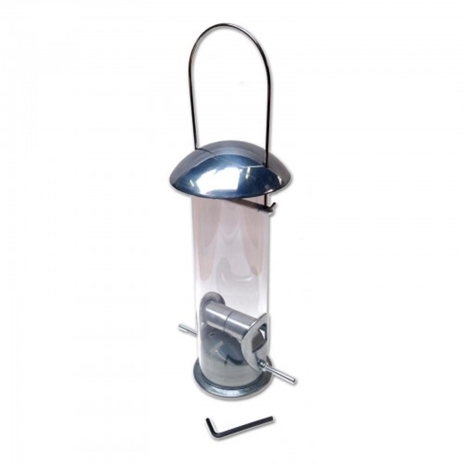 Futterspender für Samen, Futtermischungen, Erdnussbruch, Sonnenblumenkerne aus poliertem Aluminiumguss – Bild 1