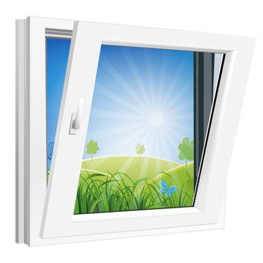 Fenster 950x950mm Kunststoff PVC, Bautiefe 60mm, 2-fach Glas, weiß, Dreh-Kipp Links o. Rechts – Bild 3