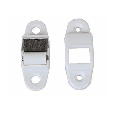 10 x Rolladen Mini Gurtführung Gurtdurchführung für 13, 14, 15 mm Mini Gurtband, weiß, mit Bürstendichtung, mit Leitrolle – Bild 3
