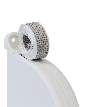 10 x Aufschraubwickler Mini Aufputz Gurtwickler Rolladen weiß, 5 m Gurtband Rolladengurt grau, Runddesign – Bild 3