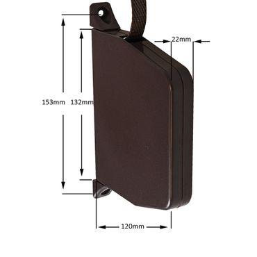 Aufschraubwickler Mini Aufputz Gurtwickler Rolladen braun, 5 m Gurtband Rolladengurt braun, Einzugautomatik bei Gurtbandwechsel inkl. Gurtdurchführung – Bild 2