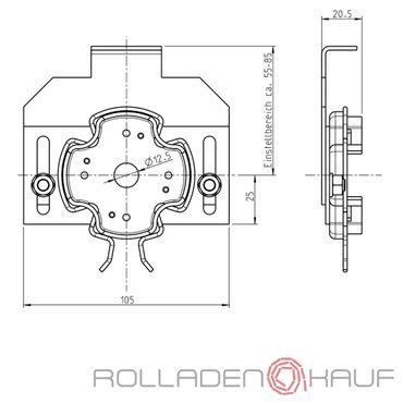 Rademacher Motorlager Medium Antriebe Clicklager für Blendkappsensysteme für RTBS, RTCS, RTIS, RTFS, RTSS, RTBM, RTCM, RTIM, RTFM, RTSM
