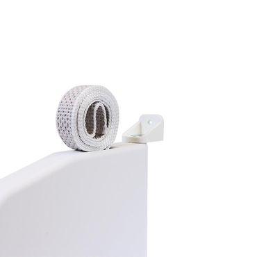 Selve Aufschraubwickler Mini Aufputz Gurtwickler aufklappbar Scharniersystem Rolladen weiß, 5 m Gurtband Rolladengurt grau inkl. Gurtdurchführung – Bild 7