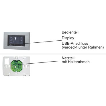 Elero MultiTec Touch - 868 Funksteuerung Touchscreen Display Funk Wandsender Zentrale 20 - Kanal Fernbedienung 868 MHz silber – Bild 5