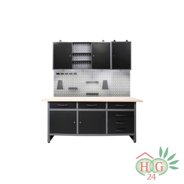 Werkstatteinrichtung 170 cm, 2x Schrank, Werkbank mit 6 Schubladen + LED-Licht – Bild 1