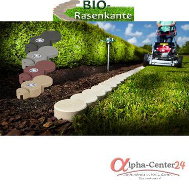 BIO-Rasenkantenstein mit Solar-LED Licht, Farben: anthrazit, granitgrau & ziegelrot – Bild 1