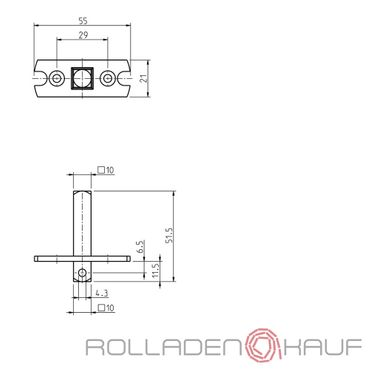 Rademacher Motorlager Adapter Medium 10er-Vierkant für RTBM, RTCM, RTIM, RTFM, RTSM
