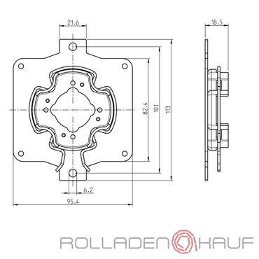 Rademacher Motorlager Medium Antriebe Clicklager für Stakusit für RTBS, RTCS, RTIS, RTFS, RTSS, RTBM, RTCM, RTIM, RTFM, RTSM