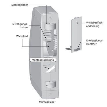 Rademacher RolloTron Schwenkwickler Standard Minigurt 1550 elektrischer Aufputz Gurtwickler Motor, weiß, ohne Display, 30 kg Zugleistung, 15mm Rolladengurt, 1550-UW – Bild 4