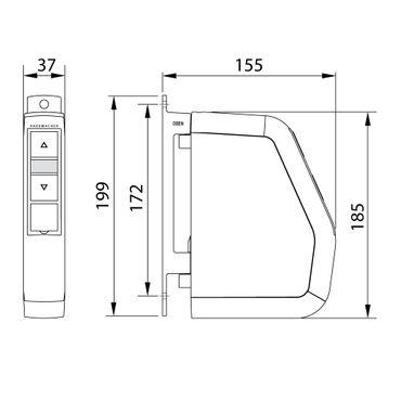 Rademacher elektrischer Aufputz Gurtwickler Motor Schwenkwickler Comfort, weiß, mit Display, 30 kg Zugleistung, 15mm Rolladengurt, 1540-UW – Bild 2