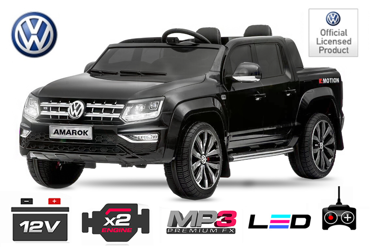 kinder elektroauto 2 sitzer vw amarok akku betrieben ebay. Black Bedroom Furniture Sets. Home Design Ideas