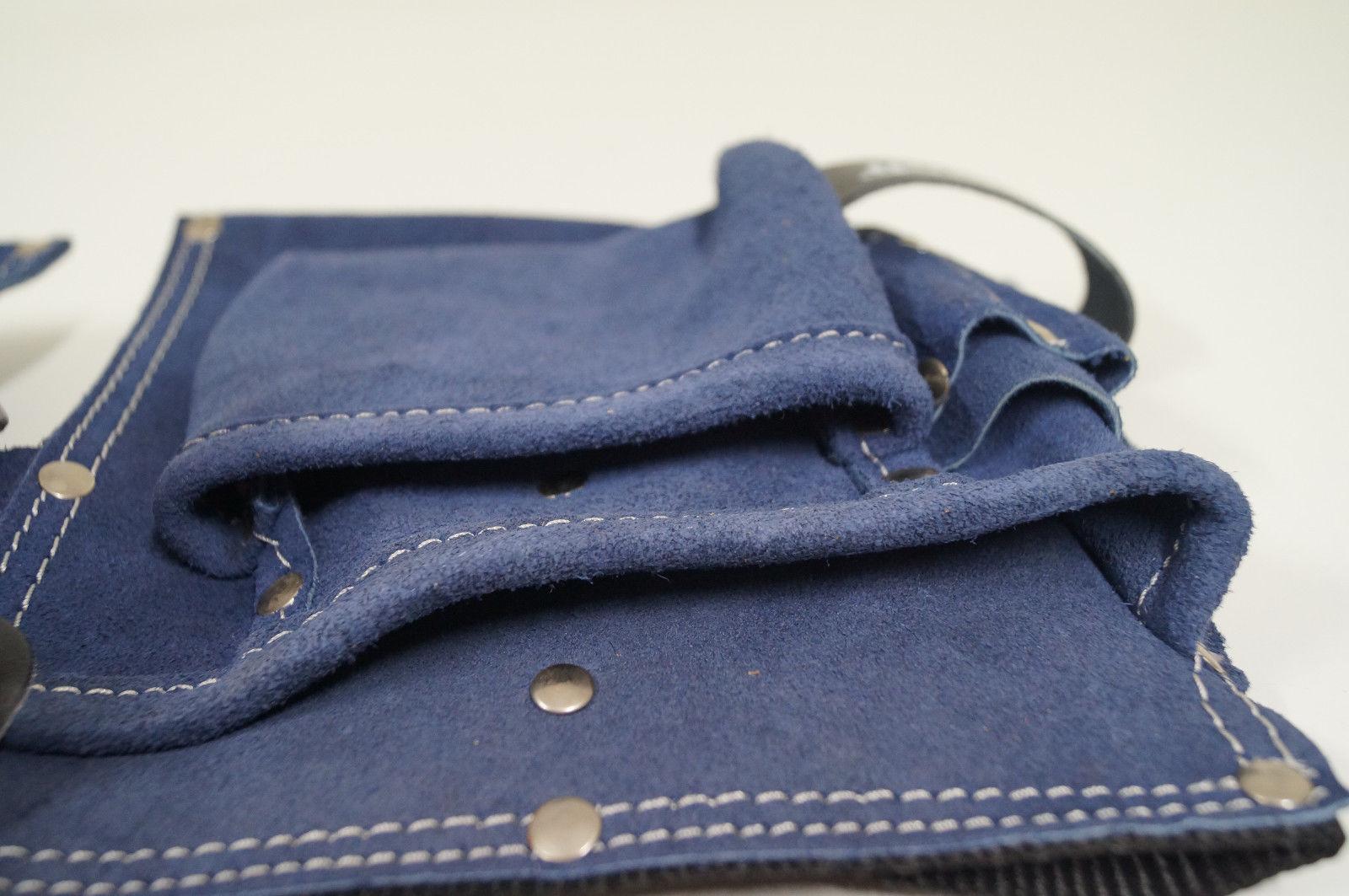 Werkzeugtasche Werkzeuggürtel Ledergürtel Ledergurt 9 Taschen blau Kunstleder