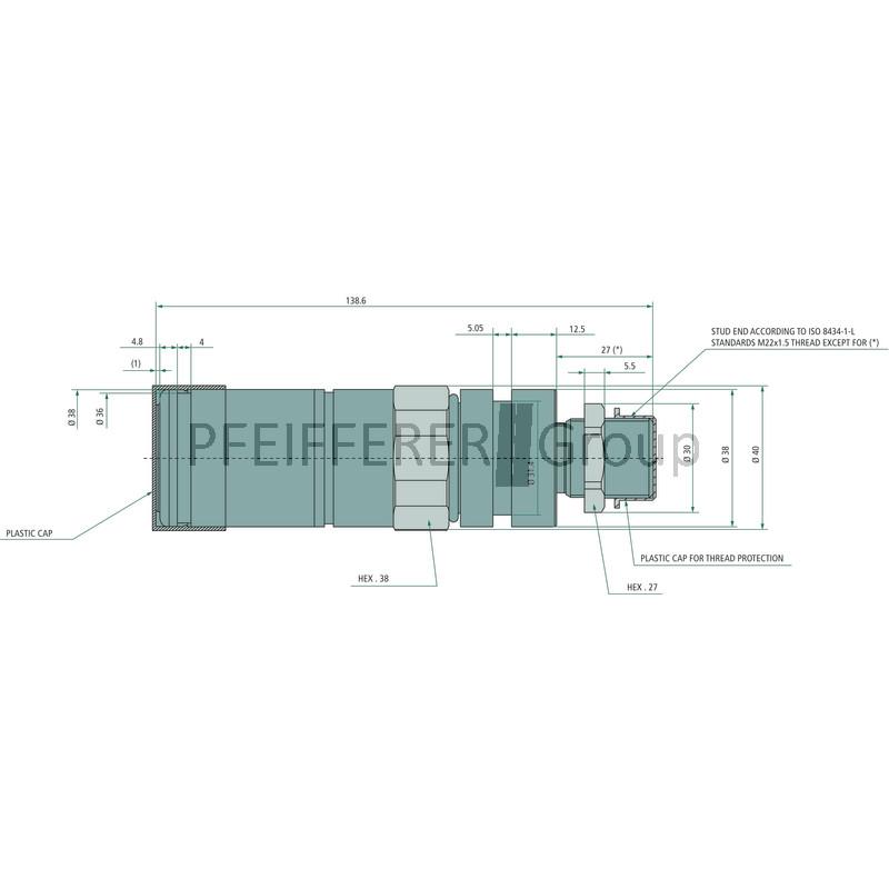 3CFPV087//2615F FASTER Hydraulik Muffe 18L Schott V-Nr