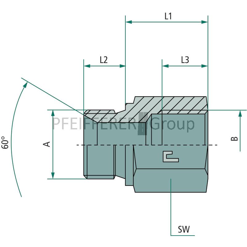 NPT Adapter Gerader Adapter AG-IG GA 1//2 M-BSP x 1//4 FS-BSP GRANIT BSP