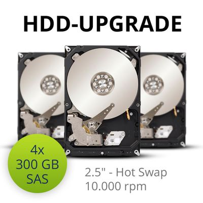 HDD-upgrade to 4x 300 GB 10K SAS