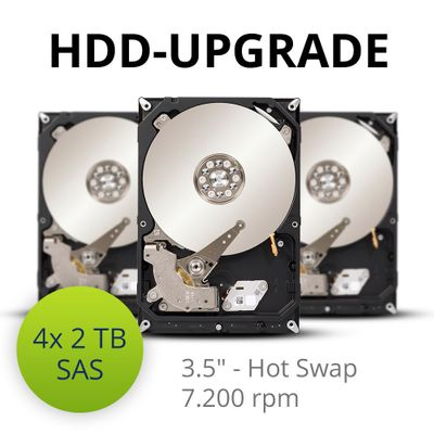 "HDD-upgrade to 4x 2 TB 7.2K SAS 3.5"" hot swap hard disks"
