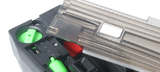 Planet Eclipse CF20 Magazine with removed side panel.