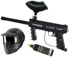 Tippmann 98 Custom PS ACT .68 Cal black, 12oz CO2 Flasche, JT Premise Headshield single, Munbox