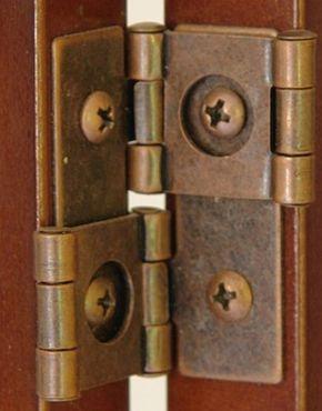1 Paar Doppelscharniere für Paravents, beidseitig öffnend inkl. Schrauben, Farbe Kupfer dunkel