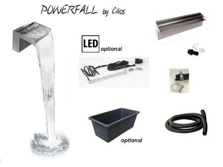 Powerfall 30 Mid Fall Wasserfall Set bis ca. 1,50 m Fallhöhe, wahlweise mit LED Beleuchtung