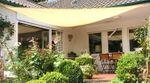 Dreieck-Sonnensegel 500x500x500 cm - offenes Schattierungsgewebe - UV Schutz bis 85% - Farbe weizen, Komplett-Set 001