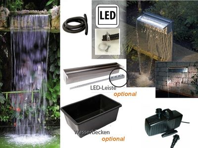 Powerfall 90 Low Fall Wasserfall Set 90 cm bis ca. 1,00+ m inkl. Pumpe, optional LED Leiste und Teichbecken