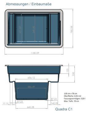 Ubbink Fertigteich Quadra C1 Teichbecken 520 Liter mit 2 Zonen