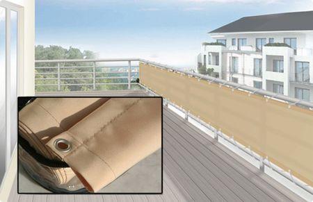 Balkonverkleidung Umrandung 65 x 300 cm, Farbe sisal - Sichtschutz für Balkon und Terrasse