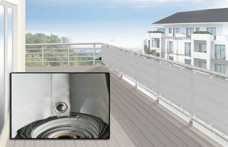 Balkonverkleidung Umrandung 65 x 500 cm, Farbe hell silbergrau - Sichtschutz für Balkon und Terrasse