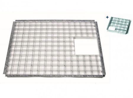 Ubbink® Abdeckrost Quadro 3 Set inkl. Einsatzstück Gitterrost 73,5 x 58,5 cm passend für 150 Liter Wasserbecken Victoria