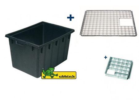 Abdeckrost Quadro 3 Set inkl. Einsatzstück und 150 Liter Wasserbecken von Ubbink®