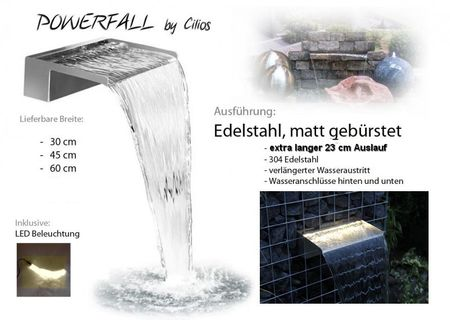 Powerfall LED Wasserfall Eco Long - extra langer Auslauf 23 cm Edelstahl gebürstet 30 - 60 cm inkl. LED und Netzteil
