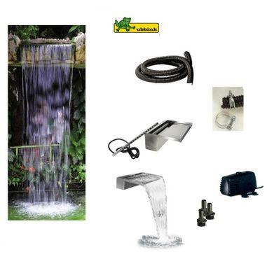Ubbink® Wasserfall Mid Fall Niagara Wall 60 LED warmweiss inkl. Pumpe, LED Beleuchtung und Anschlüsse - Fallhöhe bis ca. 150 cm