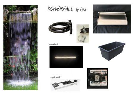 Powerfall Wasserfall Set Eco Long 60 cm  anschlussfertig mit 90 Liter Wasserbecken inkl. Zubehör